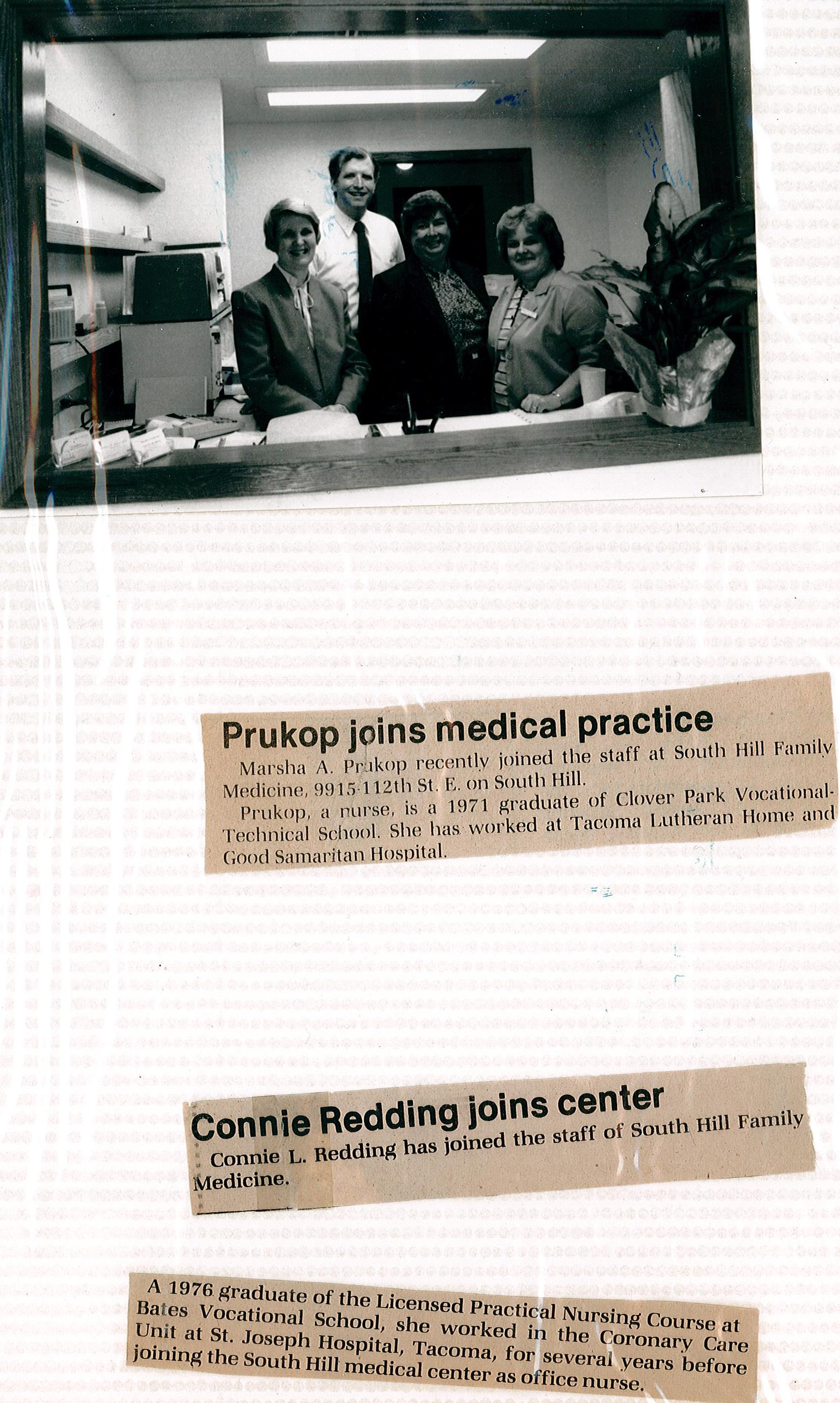 "An early photo from South Hill Family medicine with advertisements for the Tacoma News Tribune beneath. Headlines read, ""Prukop joins medical practice"" and ""Connie Redding joins center"""