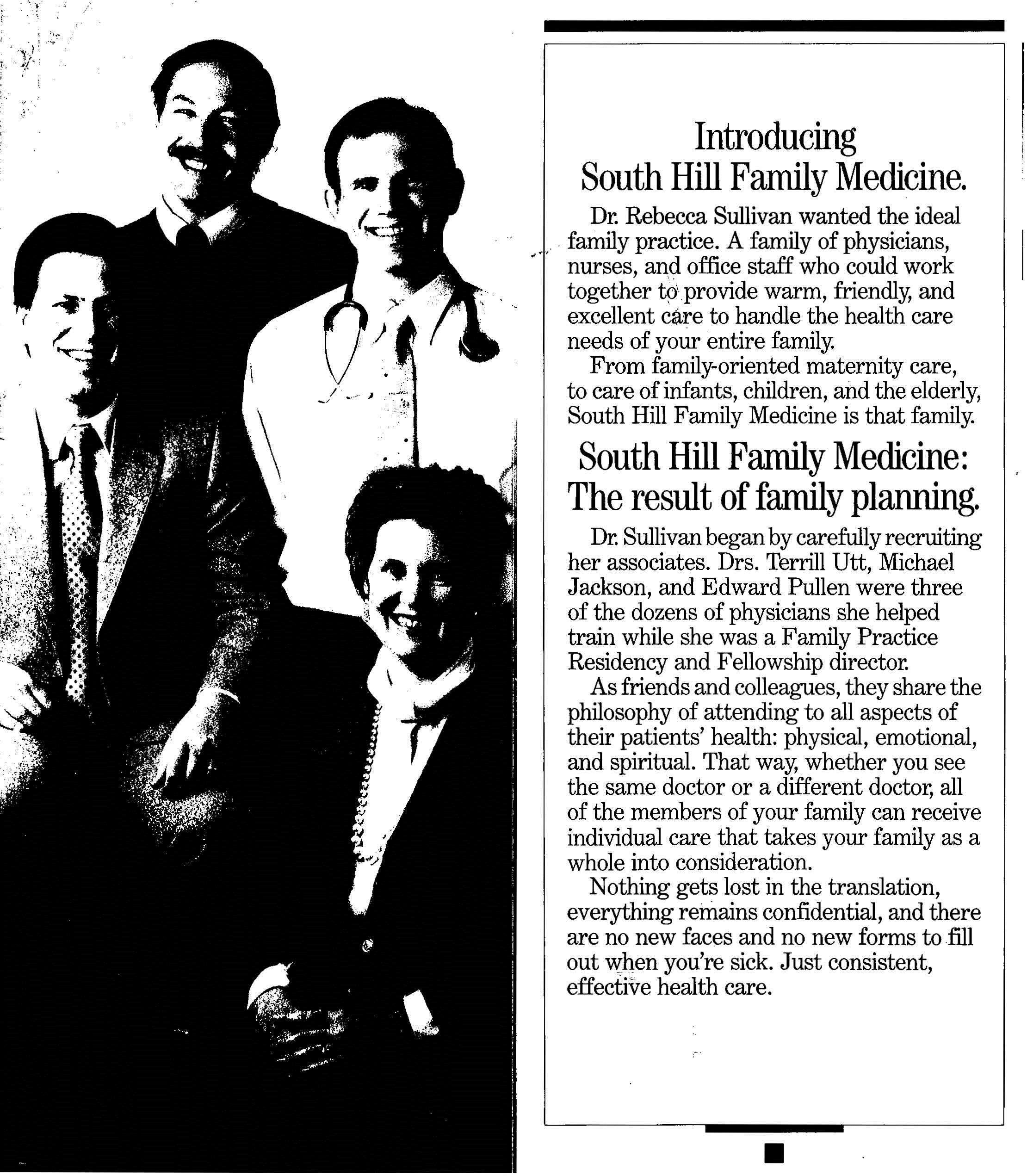 Dr. Sulliva, Dr. Utt, Dr. Jackson, and Dr. Pullen in an early advertisement in the Tacoma News Tribune
