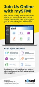 mySFM patient portal flyer with list of tools
