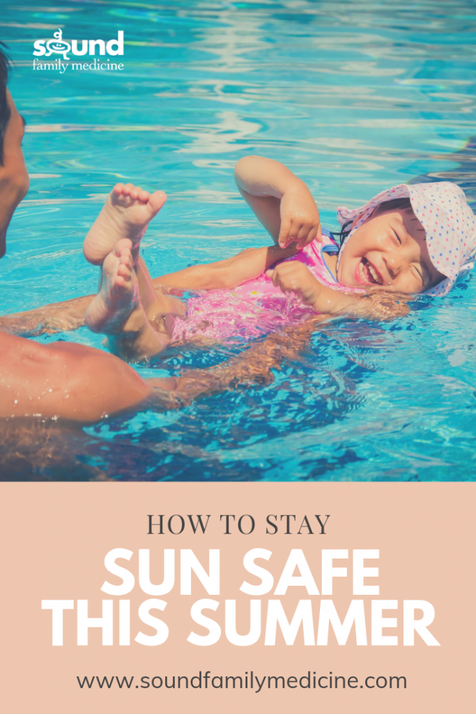 "A picture of a baby playing in the pool with the caption ""How to Stay Sun Safe this Summer"""
