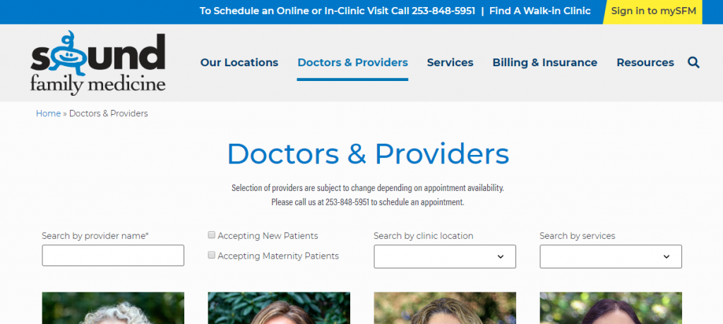 Doctors and Providers filter tool