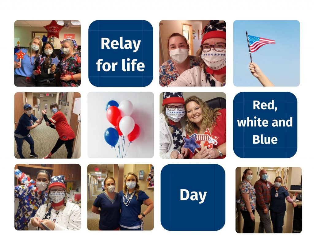 Photo collage of our team's red, white and blue dress up day