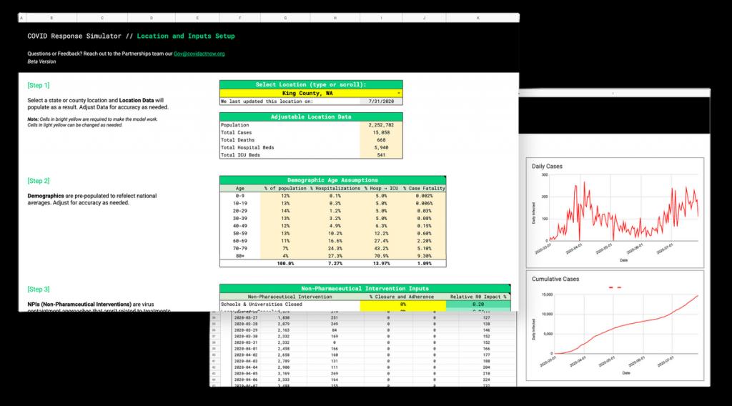 COVID data screenshot